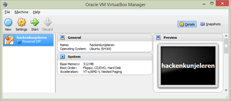 Virtualbox installatie